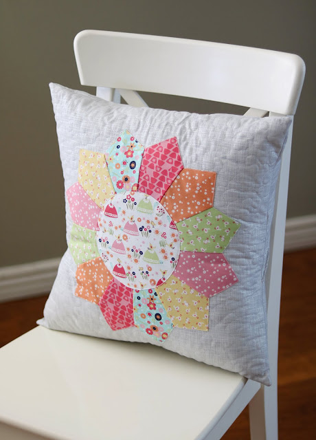 Cute Dresden quilted pillow made by Andy of A Bright Corner
