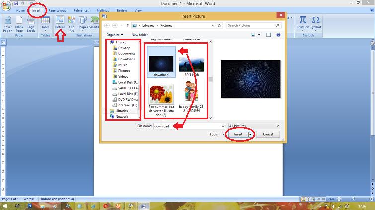 cara menyisipkan gambar pada microsoft word 2007