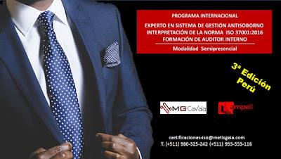3ª EDICIÓN DEL CURSO INTERNACIONAL EXPERTO EN SISTEMAS DE GESTIÓN ANTISOBORNO ISO 37001 Y AUDITOR INTERNO ISO37001