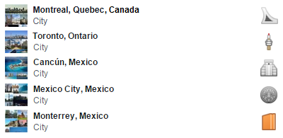 Canada and Mexico Facebook city travel icons