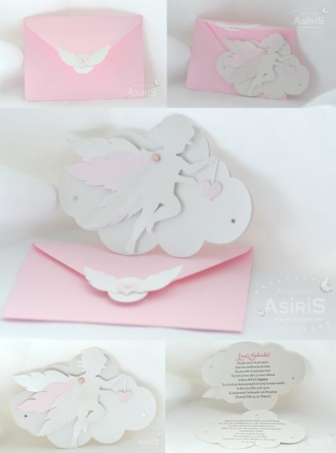 Invitatii Botez Tematic Ingeras Roz cu pic roz personalizat si invitatie decupata in forma de nor cu ingeras atasat ce tine o inima roz