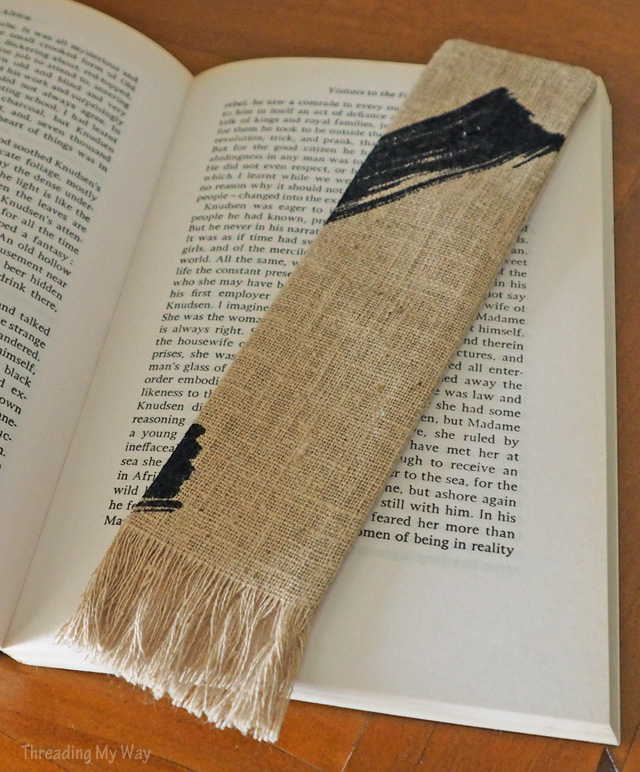 Make a fringed fabric bookmark from fabric scraps - a quick and easy sewing project ~ Threading My Way
