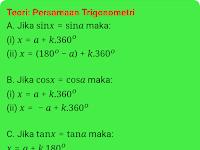 Persamaan Trigonometri Dasar