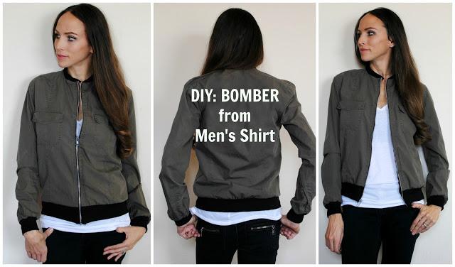 DIY: Refashion Men's Shirt to Bomber Jacket