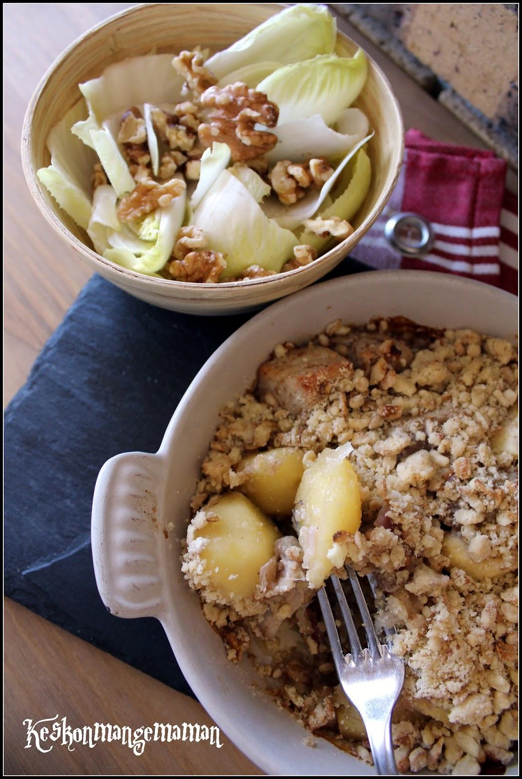 keskonmangemaman bataille food 42 crumble sal de porc pommes et oignons rouges. Black Bedroom Furniture Sets. Home Design Ideas