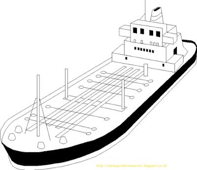 Mewarnai Gambar Kapal Laut - 8