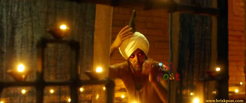 Hrithik Roshan with red eye make-up and horn in Mohenjo Daro