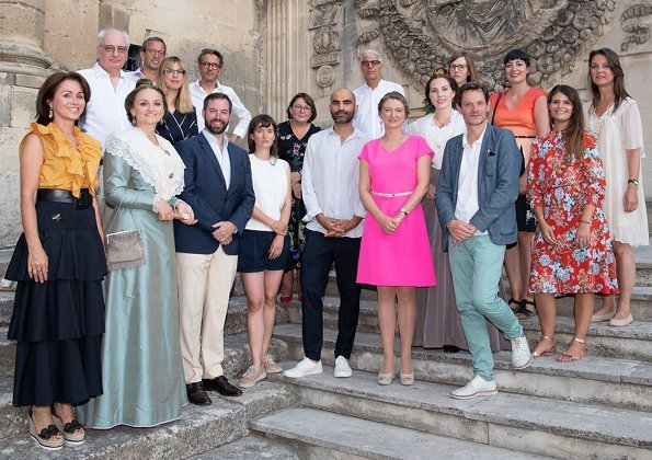 Hereditary Grand Duke Guillaume and Hereditary Grand Duchess Stephanie of Luxembourg. Princess Stephanie wore Paule Ka pink dress