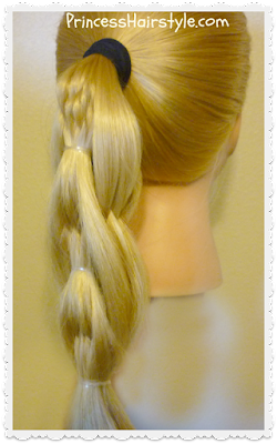 Quilted pull through braid side view.