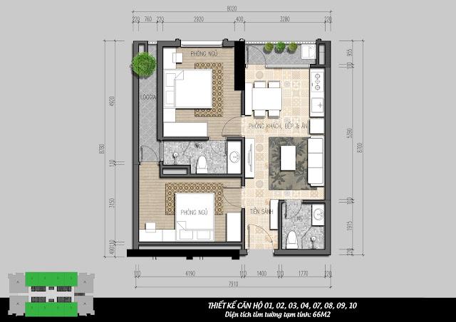 Thiết kế căn hộ 2 ngủ điển hình IRIS GARDEN
