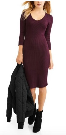 Walmart No Boundaries Juniors' Cut-Out V-Neck Long Sleeve Sweater Dress