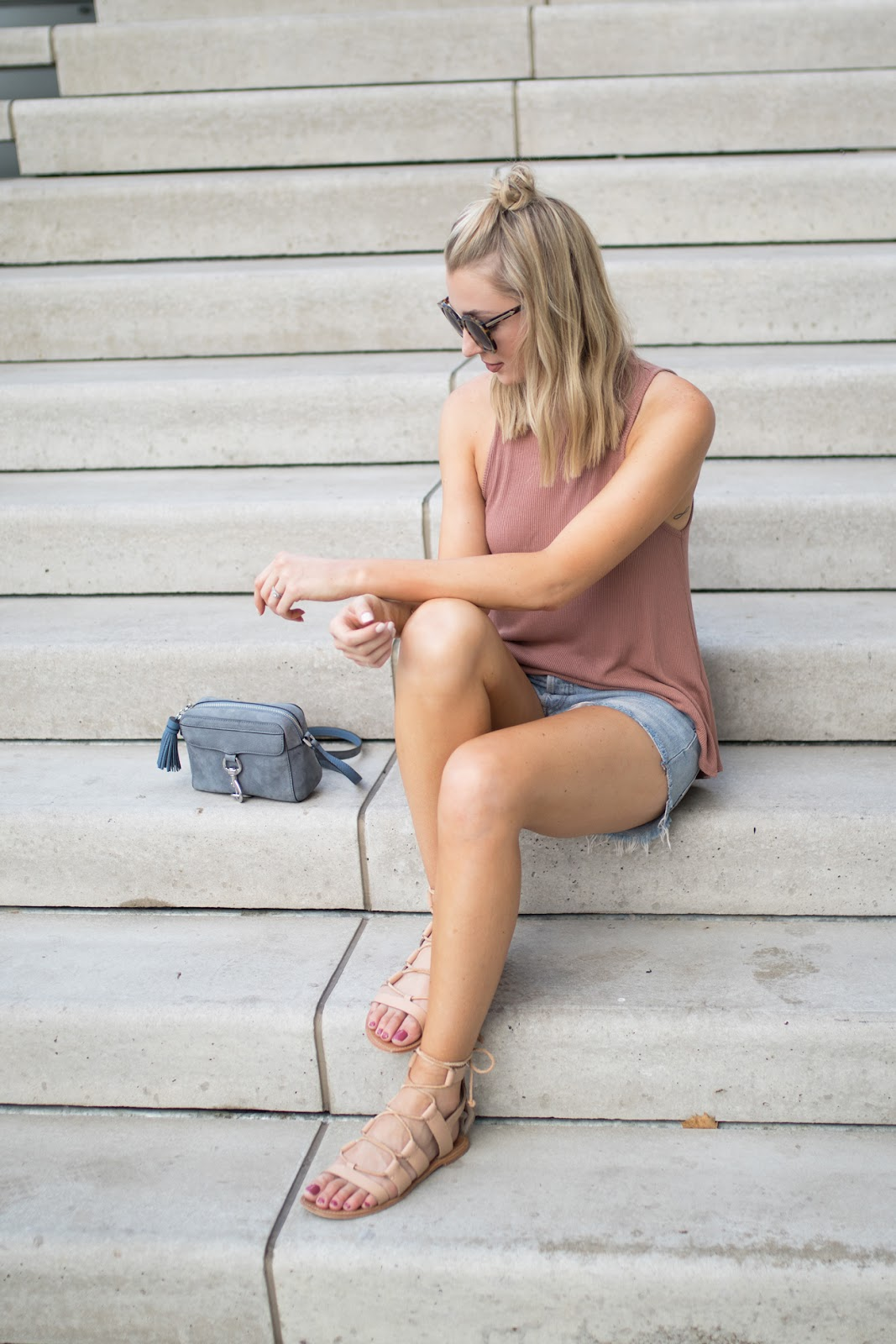 Cutoffs + nude lace-up sandals