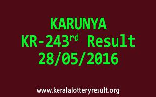 KARUNYA KR 243 Lottery Result 28-5-2016