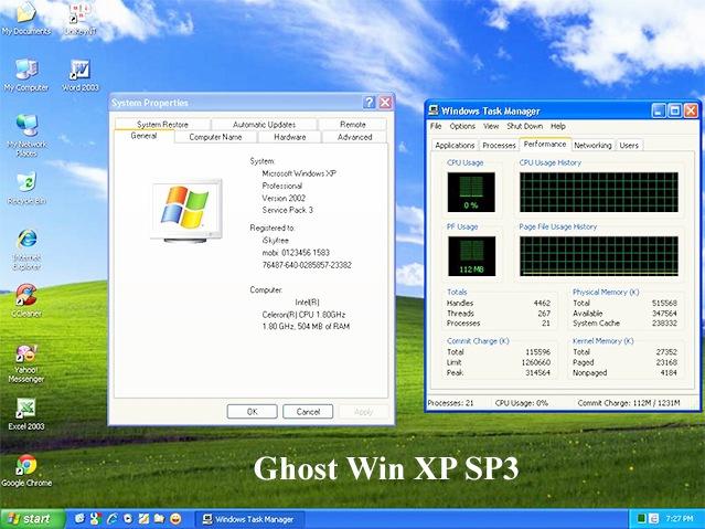 Download Ghost Win XP SP3 32bit, 64bit Siêu Nhẹ - Tự Nhận Full Driver b