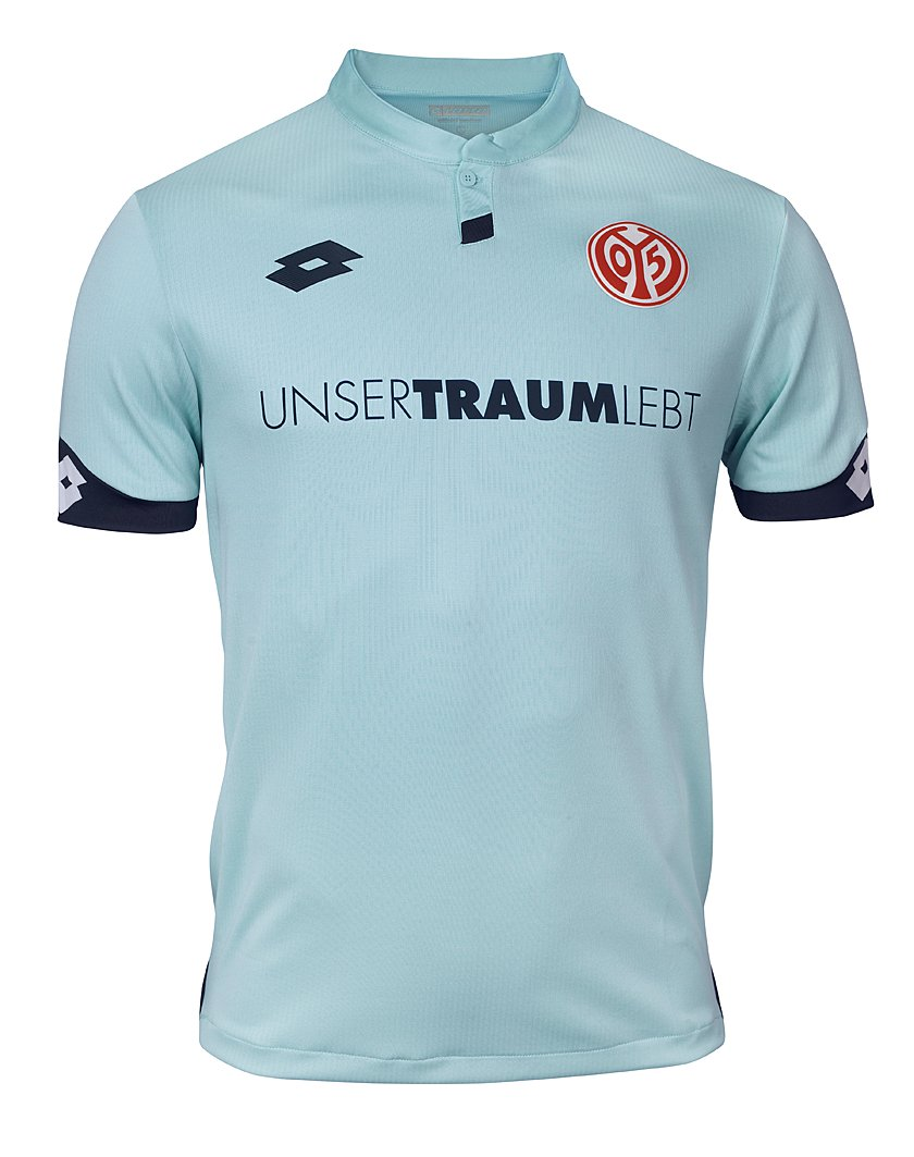 1db2b0487 The home jersey for Mainz is red with dark red stripes. The lack of collar  gives the home jersey a modernized and comfortable look.
