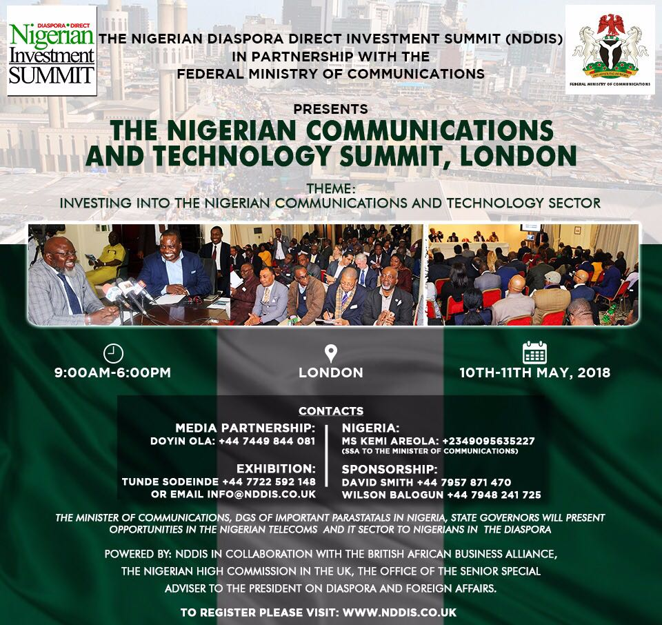 The 1st Nigerian Communications and Technology Summit in London on 10th & 11th May 2018