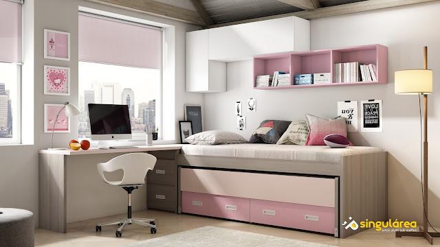 Cuarto juvenil bicama sin armario 1142 - Decoraciones para dormitorios juveniles ...