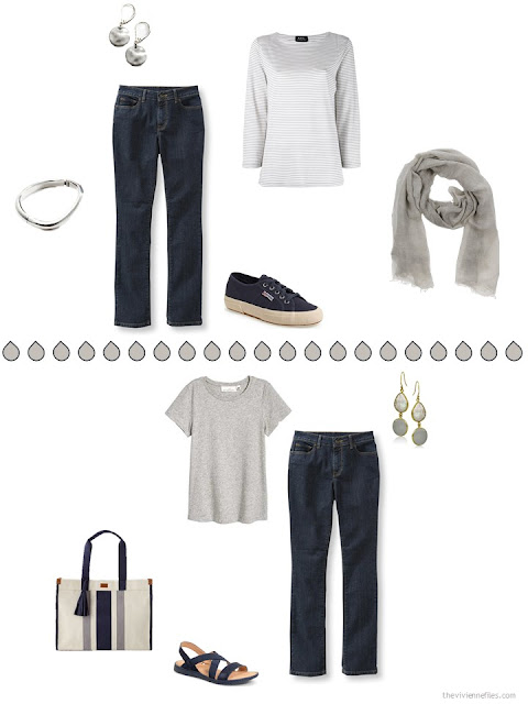 two ways to wear navy jeans with warm grey