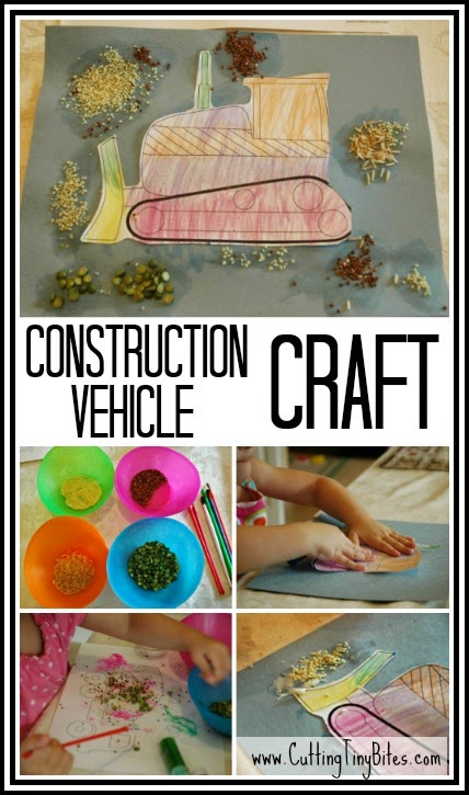 Fine motor craft for toddlers or preschoolers to use with construction theme homeschool pre-k.