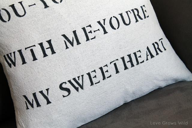 DIY Stenciled Lyric Pillow Tutorial www.lovegrowswild.com #diy #tutorial #pillow