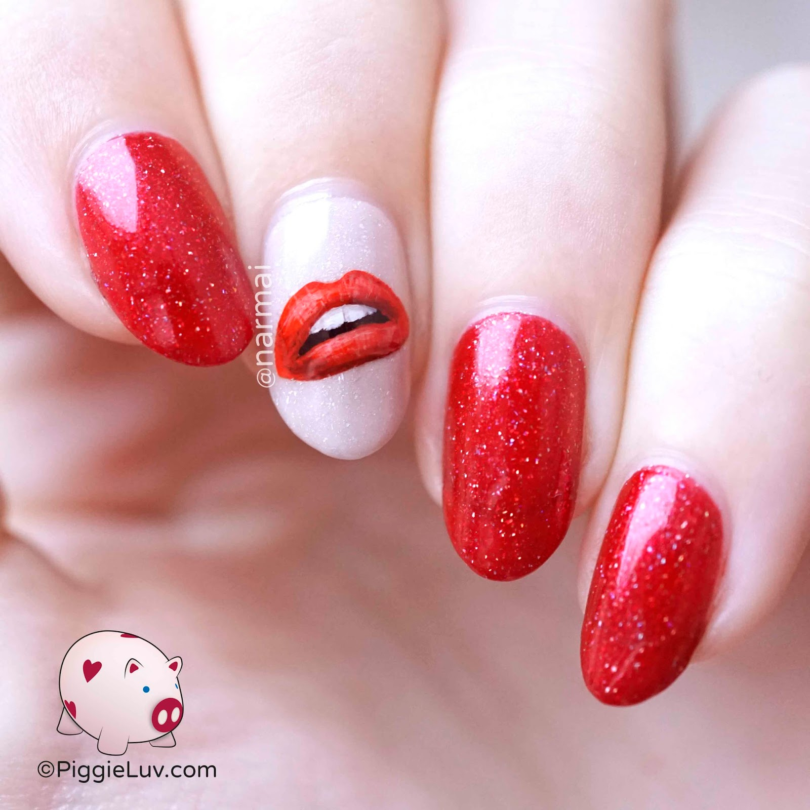 Piggieluv Hot Lips Nail Art For Valentines Day