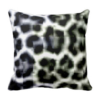 Black animal print throw pillow