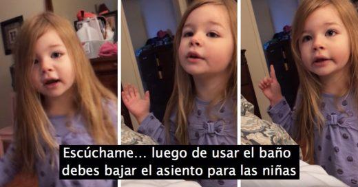 No baja la tapa del baño y su pequeña hija le da un sermón