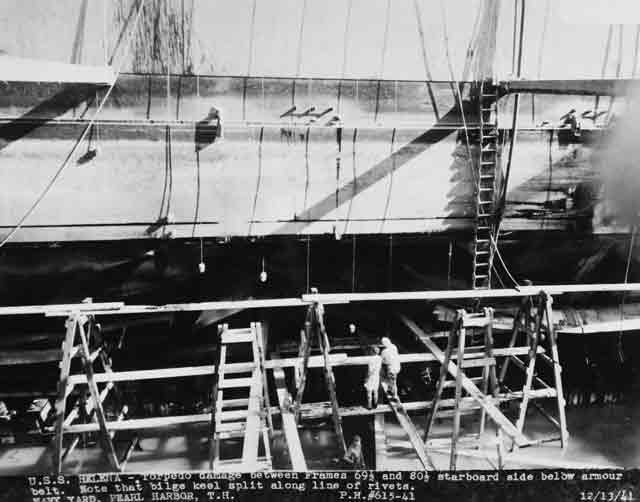 Battle damage to USS Helena as seen on 13 December 1941 worldwartwo.filminspector.com