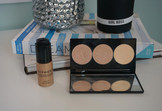 Sephora collection illuminating drops in ultra light and Smashbox Casey Holmes in the spotlight pearl palette