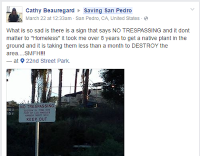 Cathy Beauregard upset about plant not homeless person Saving San Pedro