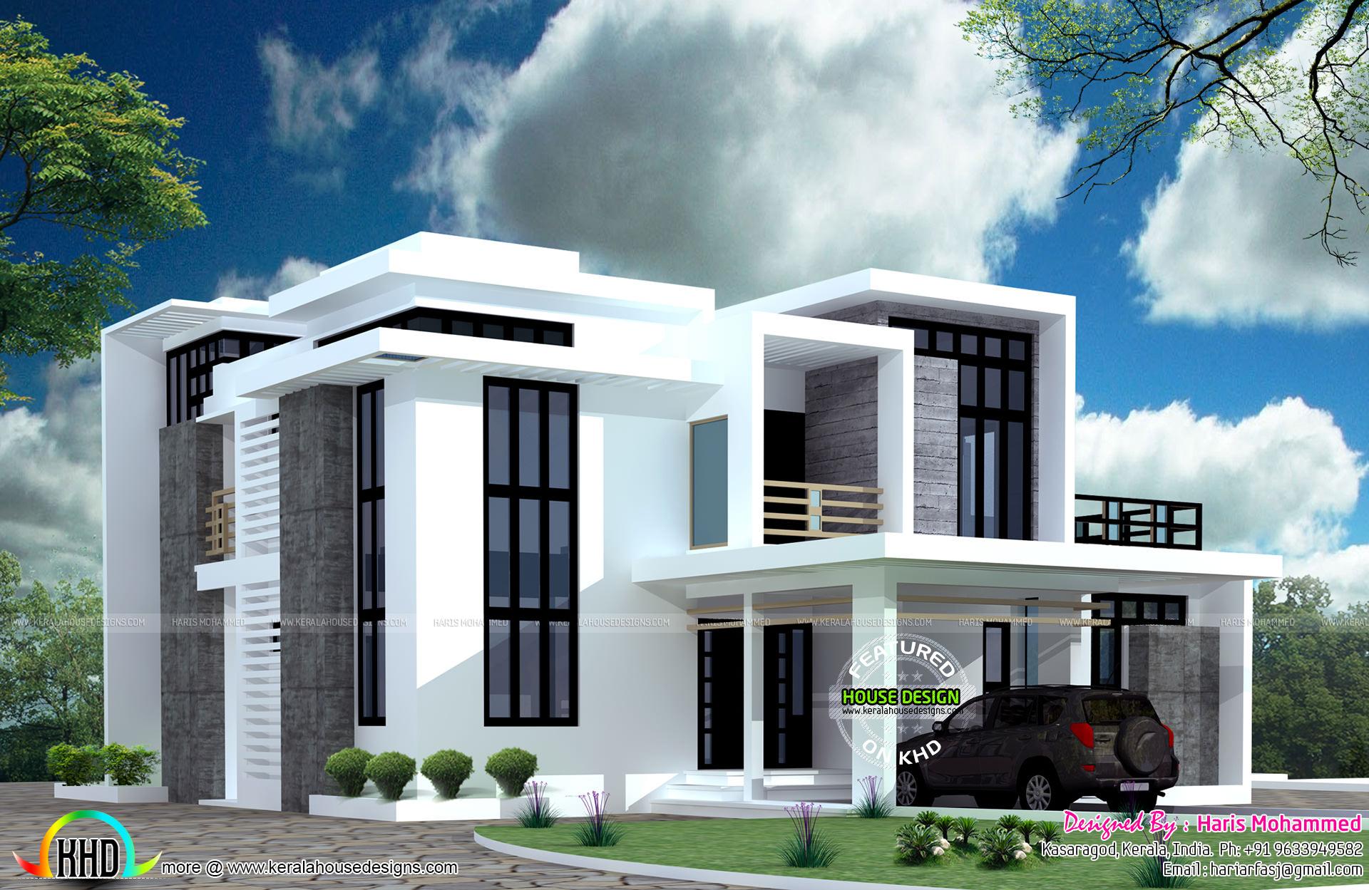 4 bedroom home in 2823 square feet kerala home design for Modern box type house design