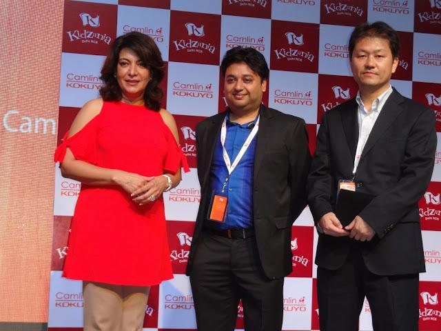 Actress Divya Seth, Saumitra Prasad - Chief Marketing Officer  and Takeo Iguchi - Director of Kokuyo Camlin at the launch of 'Camlin Art & Craft Studio' Delhi, NCR