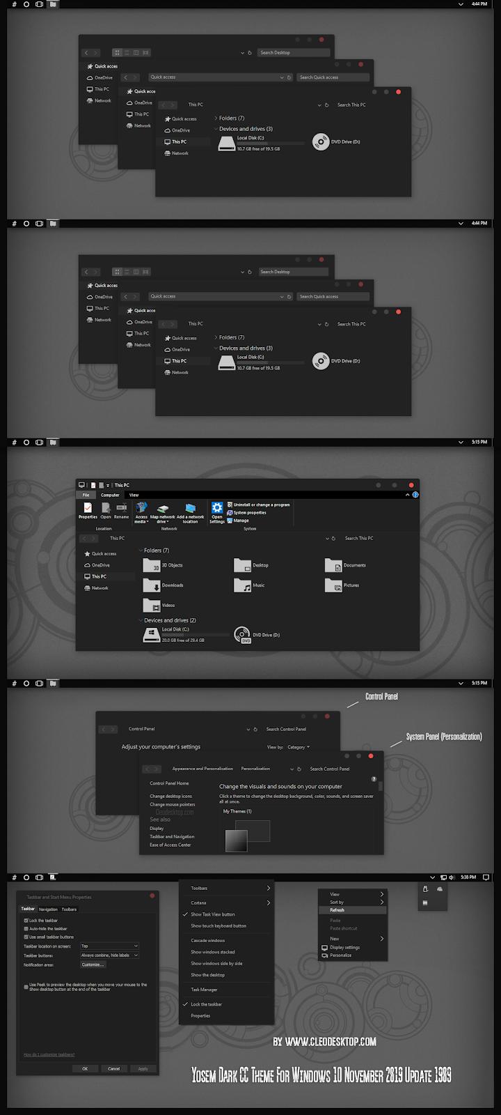 Yosem Dark CC Theme For Windows10 November 2019 Update 1909