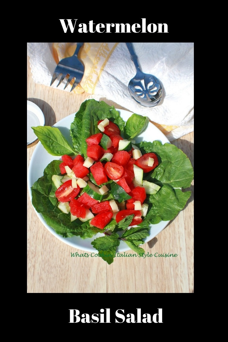 Watermelon Basil Salad is a fresh watermelon on a bed of fresh greens, fresh vegetables and perfect for summer healthier keto low carb diet salad