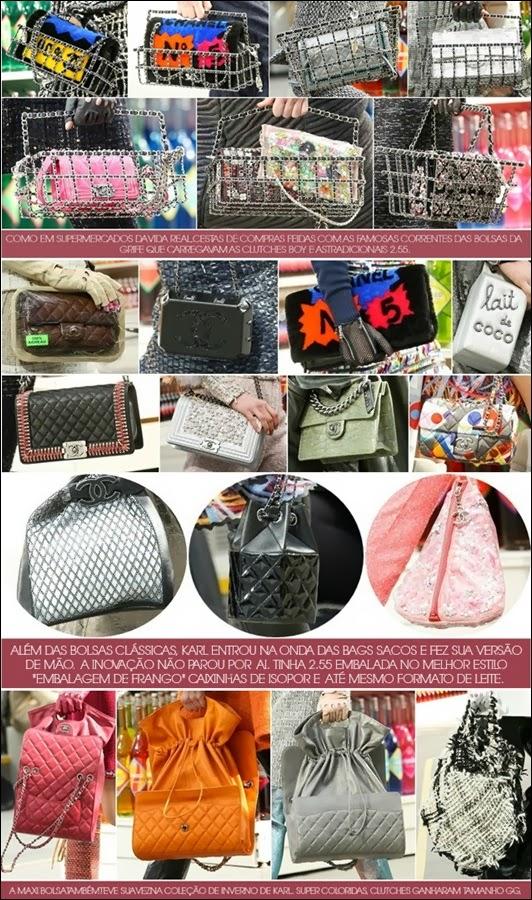 acb2bd8b4 No melhor estilo supermercado, as cestas de compras viraram bolsas e  ganharam correntes de couro e eram acompanhadas pelas bolsas tradicionais  da marca.