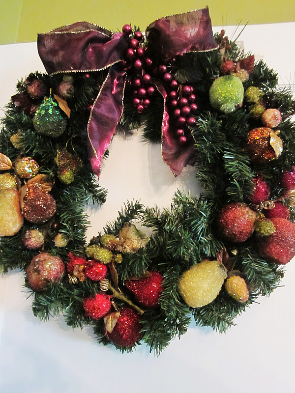Homespun With Love Beaded Fruit Wreath