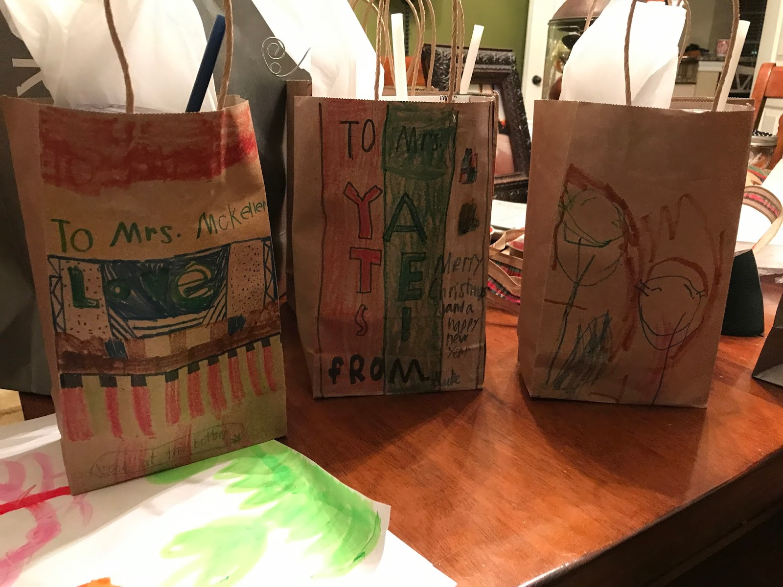 a2a3440fe81 Another festive FAVORITE from the week were teacher s gifts! I bought  simple brown bags and the kids personalized them.