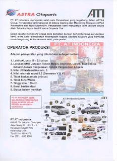 Loker PT. AT Indonesia Operator Produksi