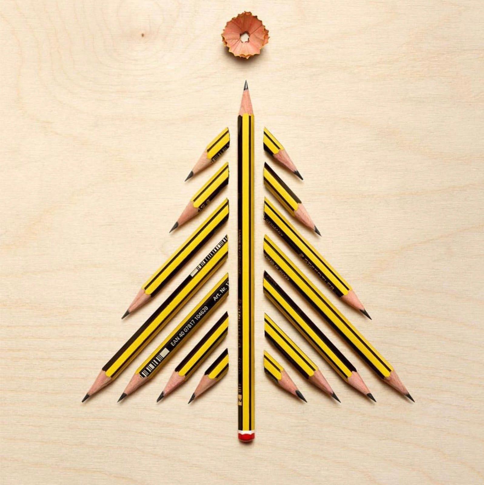 Года свадьбы, открытка елка из карандашей