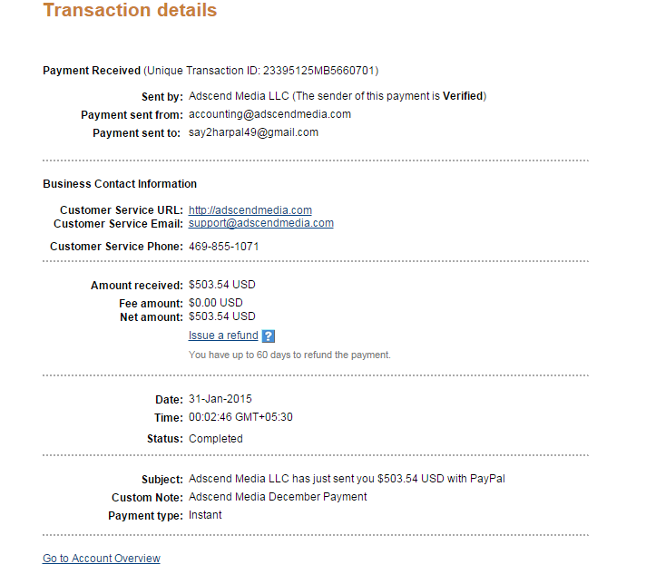 Adscend Media Payment Proof paypal