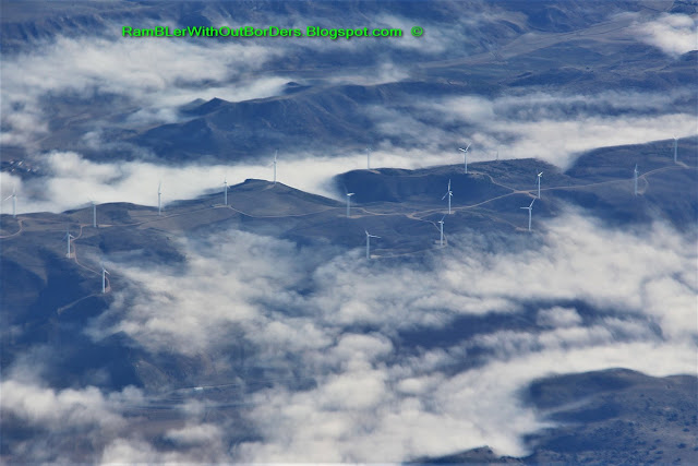 Aerial view of wind turbines over northern Spain from the windows of a commercial airline