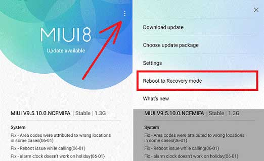 Reboot to Recovery Mode Xiaomi