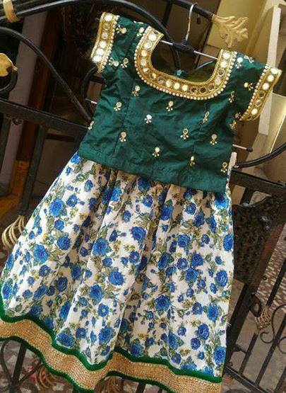 Floral Kids Lehenga Mirror Blouse