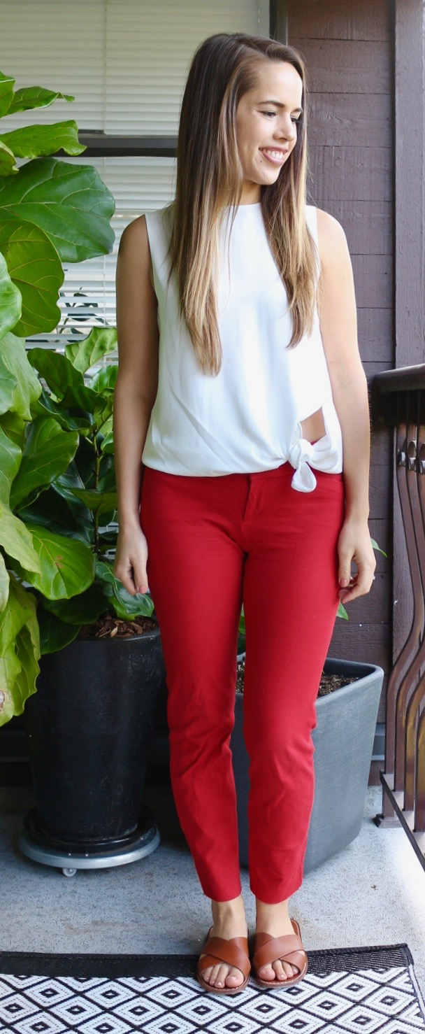 Jules in Flats - Babaton Hopkins Blouse with Red Pants - Patriotic Outfit