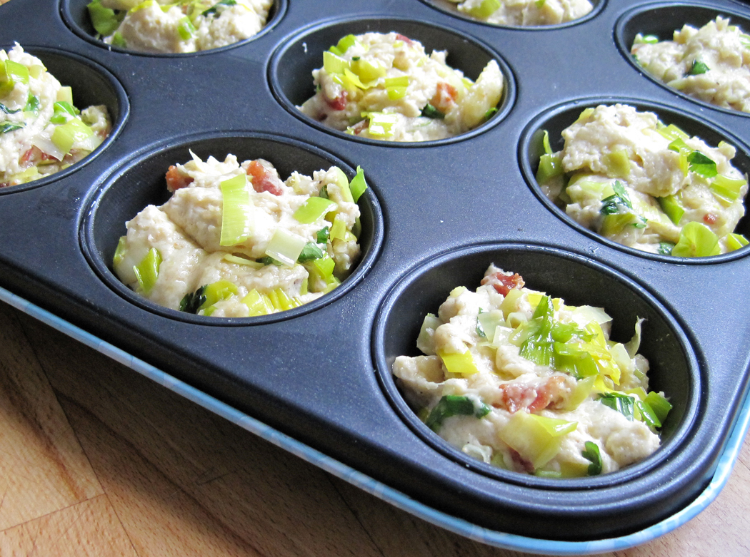 Cheesy Leek and Bacon Muffins ready for the oven