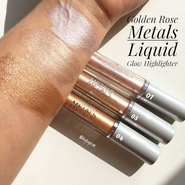 golden rose metals liquid glow highlighter metalik likit aydınlatıcı 01-03-04 incelemesi