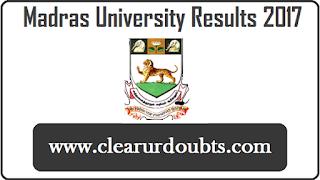 Madras University Results April 2017