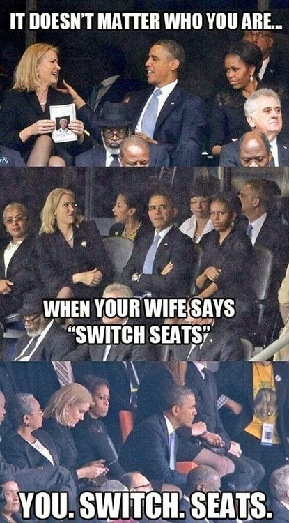 Funny Obama Flirting Wife Switch Seats Joke Meme Picture