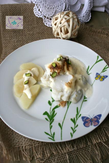 Bacalao con mayonesa de pera