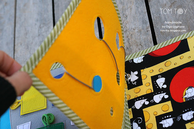 Little quiet book for Dylan, Handmade busy book by TomToy, Cheese page